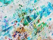 Μπλε χρώμα κρητιδογραφιών, κέρινα σημεία, χρώμα watercolor, ζωηρόχρωμα χρώματα Στοκ Εικόνες