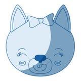 Μπλε χρώμα που σκιάζει το πρόσωπο καρικατουρών σκιαγραφιών της θηλυκής έκφρασης χαμόγελου γατών ζωικής ελεύθερη απεικόνιση δικαιώματος