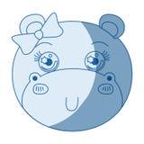 Μπλε χρώμα που σκιάζει το πρόσωπο καρικατουρών σκιαγραφιών της θηλυκής ζωικής χαριτωμένης έκφρασης hippo διανυσματική απεικόνιση