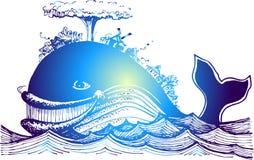 Μπλε ψάρι-φάλαινα εν πλω ελεύθερη απεικόνιση δικαιώματος