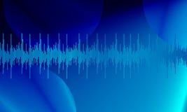 Μπλε ψηφιακά ακουστικά υγιή κύματα εξισωτών στο μπλε υπόβαθρο ουρανού, ελεύθερη απεικόνιση δικαιώματος