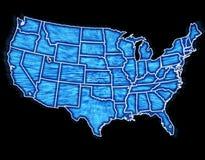 μπλε ψηφιακά κράτη που ενών&o Στοκ εικόνες με δικαίωμα ελεύθερης χρήσης