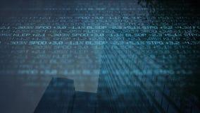 Μπλε ψηφιακό δυσοίωνο τηλέτυπο χρηματιστηρίου που τυλίγει τον προηγούμενο ουρανοξύστη - έννοια Γουώλ Στρητ απεικόνιση αποθεμάτων
