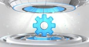 Μπλε cogwheel τρισδιάστατο σημάδι στην κίνηση της μηχανικής προθήκης ελεύθερη απεικόνιση δικαιώματος