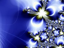 μπλε fractal ανασκόπησης χρυσό αστέρι Στοκ Εικόνες