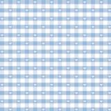 μπλε gingham κρητιδογραφία καρδιών άνευ ραφής Στοκ Εικόνες