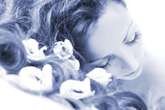 μπλε girl spa Στοκ φωτογραφία με δικαίωμα ελεύθερης χρήσης