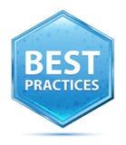 Μπλε hexagon κουμπί κρυστάλλου καλύτερων πρακτικών απεικόνιση αποθεμάτων