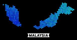 Μπλε Hexagon χάρτης της Μαλαισίας απεικόνιση αποθεμάτων