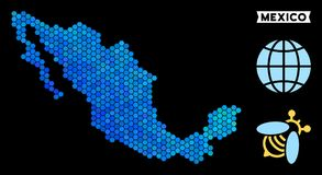 Μπλε Hexagon χάρτης του Μεξικού διανυσματική απεικόνιση
