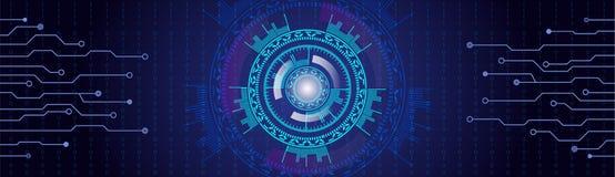 Μπλε HUD υπόβαθρο βελούδου με τις γραμμές και τους αριθμούς Head-up Στοκ εικόνα με δικαίωμα ελεύθερης χρήσης