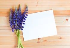 Μπλε lupine wildflowers και κενή κάρτα για το κείμενό σας Στοκ Εικόνες