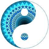 Μπλε mandala συμβόλων Ying yang Στοκ φωτογραφία με δικαίωμα ελεύθερης χρήσης