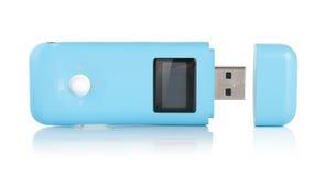 Μπλε MP3 φορέας που απομονώνεται Στοκ Εικόνες