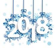 2018 μπλε Snowflakes διανυσματική απεικόνιση