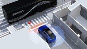 Μπλε SUV στο ανιχνευμένο όχημα μονόδρομων οδών στο τυφλό σημείο απεικόνιση αποθεμάτων