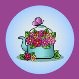 Μπλε teapot με μια ανθοδέσμη των ζωηρόχρωμων λουλουδιών απεικόνιση αποθεμάτων