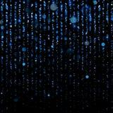 Μπλε tinsel περνά κλωστή στις γραμμές μορίων με τις λαμπυρίζοντας ελαφριές θαμπάδες Ακτινοβολήστε, σκηνικό κουρτινών των λαμπιρίζ διανυσματική απεικόνιση