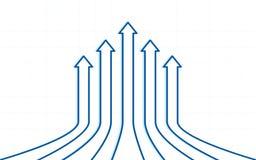 Μπλε uptrend βέλη γραμμών στο επίπεδο σχέδιο εικονιδίων στο άσπρο υπόβαθρο χρώματος απεικόνιση αποθεμάτων