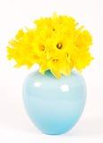 μπλε vase daffodils Στοκ Φωτογραφίες