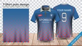 Μπλούζα πόλο με το φερμουάρ, πρότυπο αθλητικών προτύπων του Τζέρσεϋ ποδοσφαίρου για την εξάρτηση ποδοσφαίρου ή activewear ομοιόμο ελεύθερη απεικόνιση δικαιώματος