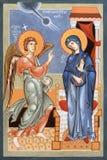 ΜΠΟΛΟΝΙΑ, ΙΤΑΛΙΑ - 18 ΑΠΡΙΛΊΟΥ 2018: Το εικονίδιο Annunciation στην εκκλησία Chiesa Di SAN Pietro από το Sebastian Tarud Στοκ εικόνες με δικαίωμα ελεύθερης χρήσης