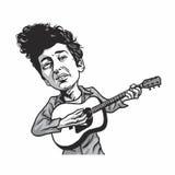 Μπομπ Ντύλαν που παίζει την καρικατούρα κινούμενων σχεδίων κιθάρων Στοκ Εικόνες