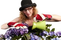 μπορέστε καλλιεργώντας ποτίζοντας γυναίκα Στοκ εικόνες με δικαίωμα ελεύθερης χρήσης
