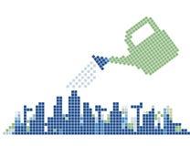 μπορέστε πότισμα πόλεων Διανυσματική απεικόνιση