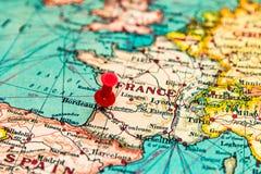 Μπορντώ, Γαλλία που καρφώνεται στον εκλεκτής ποιότητας χάρτη της Ευρώπης Στοκ Φωτογραφία