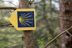 Μπορντώ, Aquitaine/Γαλλία - 01 01 2019: κίτρινο κοχύλι οστράκων που υπογράφει τον τρόπο στο Σαντιάγο de compostela στο ST james στοκ εικόνα με δικαίωμα ελεύθερης χρήσης