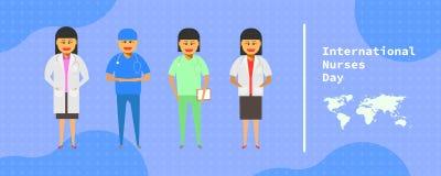 12 μπορούν διεθνής ημέρα νοσοκόμων ομάδα γιατρών θηλυκών που στέκεται στο αφηρημένο υπόβαθρο διανυσματική απεικόνιση ep10 απεικόνιση αποθεμάτων
