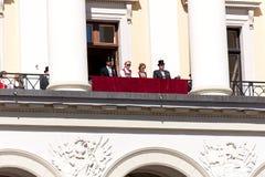 17 μπορούν Όσλο Νορβηγία στο μέτωπο της βασιλικής οικογένειας Στοκ Φωτογραφία