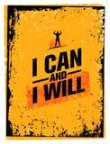 Μπορώ και Έμβλημα αποσπάσματος κινήτρου Workout τυπογραφίας αθλητικής γυμναστικής Ισχυρή διανυσματική έννοια έμπνευσης κατάρτισης Στοκ Εικόνα