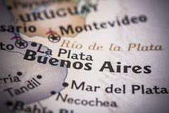 Μπουένος Άιρες στο χάρτη Στοκ εικόνες με δικαίωμα ελεύθερης χρήσης