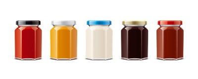 Μπουκάλια γυαλιού για τις σάλτσες και άλλα τρόφιμα λατρευτή απομονωμένη ανασκόπηση παραγωγή πέρα από τη μικρή λευκή γυναίκα μεγέθ διανυσματική απεικόνιση