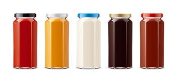 Μπουκάλια γυαλιού για τις σάλτσες και άλλα τρόφιμα Μεγάλο μέγεθος απεικόνιση αποθεμάτων