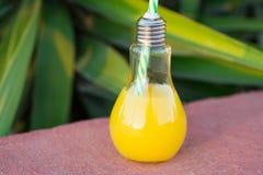 Μπουκάλια γυαλιού λαμπών φωτός με το φρέσκο πορτοκαλή τροπικό χυμό φρούτων στο κόκκινο πέτρινο υπόβαθρο στο ηλιοβασίλεμα Πράσινο  Στοκ Εικόνα