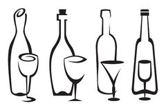 Μπουκάλια και γυαλιά που τίθενται Στοκ Εικόνες