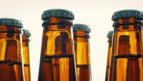 Μπουκάλια μπύρας που περιστρέφονται στο σαφές υπόβαθρο φιλμ μικρού μήκους