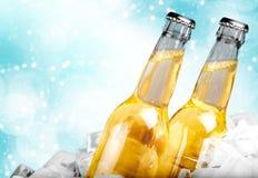 Μπουκάλια μπύρας στον πάγο στο ελαφρύ υπόβαθρο Στοκ φωτογραφία με δικαίωμα ελεύθερης χρήσης