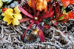 Μπουκάλι αρώματος πολυτέλειας με τα λουλούδια στο κιβώτιο δώρων Αρωματοποιία, καλλυντικά, συλλογή αρώματος Τοπ όψη Στοκ Εικόνα