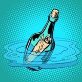 Μπουκάλι βοήθειας με τη σημείωση, θάλασσα διανυσματική απεικόνιση