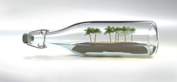 Μπουκάλι γυαλιού με το νησί και οποιουσδήποτε φοίνικες μέσα ελεύθερη απεικόνιση δικαιώματος