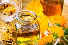 Μπουκάλι ιατρικής και calendula χορταριών Στοκ εικόνες με δικαίωμα ελεύθερης χρήσης