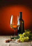 Μπουκάλι και ποτήρι του κόκκινου κρασιού Στοκ Εικόνες