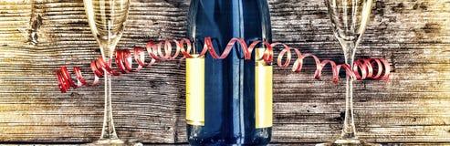 Μπουκάλι και goblets CHAMPAGNE Στοκ Φωτογραφία