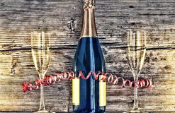 Μπουκάλι και goblets CHAMPAGNE Στοκ Εικόνα