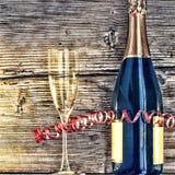 Μπουκάλι και goblets CHAMPAGNE Στοκ φωτογραφίες με δικαίωμα ελεύθερης χρήσης