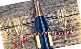 Μπουκάλι και goblets CHAMPAGNE Στοκ Εικόνες